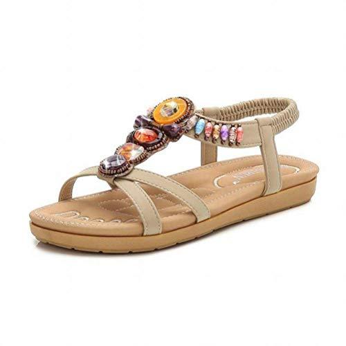 Women Sandals Bohème Sandales Femmes Grande Taille Confortable Décontracté Sandales Couleur Diamant Plat Sandales Femmes Confortables, Apricot, 41