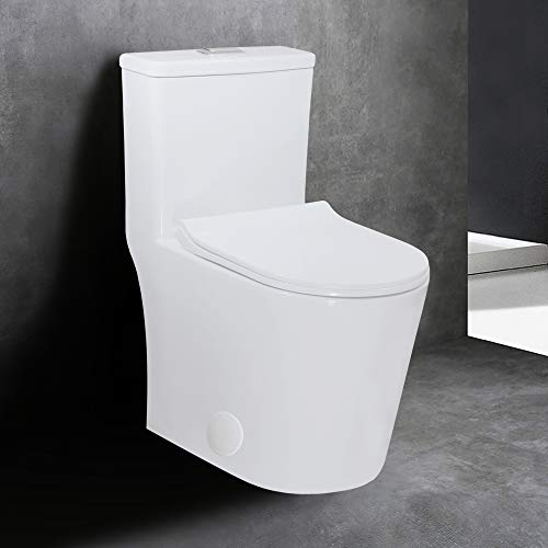 WinZo WZ5079N 23' Small Compact One Piece Toilet,Dual Flush Short for Modern Mini Tiny Bathrooms,Standard 12' Rough-in Ceramic White
