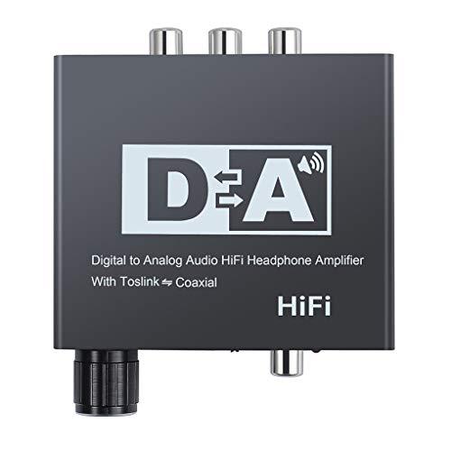 worahroe Digital a analógico O convertidor 3.5mm DAC Amplificador O convertidor DAC de Fibra óptica de Fibra coaxial de Fibra al Adaptador DAC