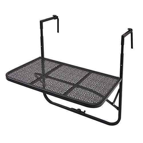 ZXXL Mesa Plegable para Balcón al Aire Libre, Escritorio de Café Colgante Que Ahorra Espacio, Mesa de Barandilla de Metal Ajustable para Patio/Jardín/Terraza, Los 60 × 40 × 39cm (Color : Black)