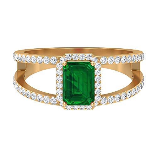 Rosec Jewels 14 quilates oro amarillo round-brilliant-shape Octagone H-I Green Diamond Emerald