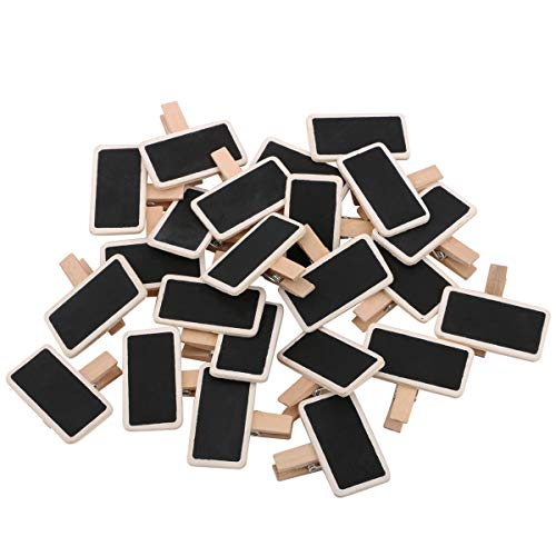 Dedoot 100pcs Mini Rectangle Chalkboard Decorative Wooden Chalk Board Clip, Message Chalk Board Signs Labels Clips for Wedding Kitchen Party Decor Note Taking