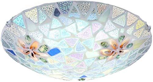 QUETAZHI- Mittelmeer-natürliches Shell-Mosaik LED-Deckeneinbauleuchten Deckenlampen for Schlafzimmer Wohnzimmer Korridor, 3-Ton 30cm QU326 (Color : Coollight, Size : 30cm)