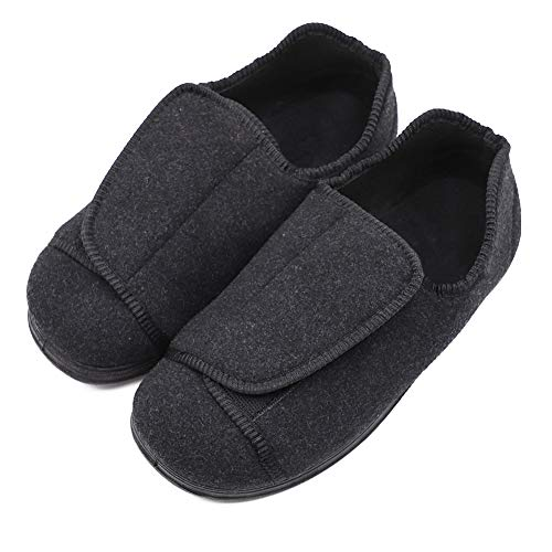 Women's Extra Wide Diabetic Shoes, Adjustable Closures Elderly Women Slippers Fit for Edema Orthopaedic Fasciitis, Black, 10