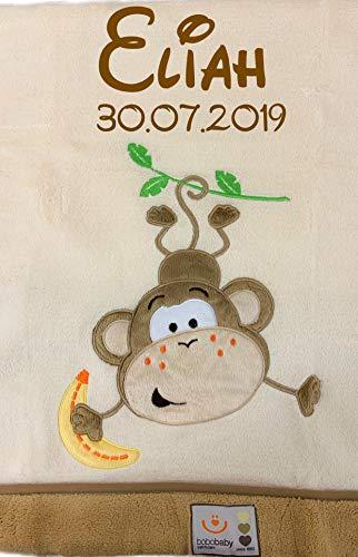 Flauschig warme Decke mit GRATIS Bestickung (Name + Geburtsdatum o.Ä.) - und mit wunderschöner Motiv Applikation (Beige - AFFE)