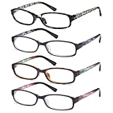 Gamma Ray Women's Reading Glasses 4 Pair Print Ladies Fashion Readers for Women