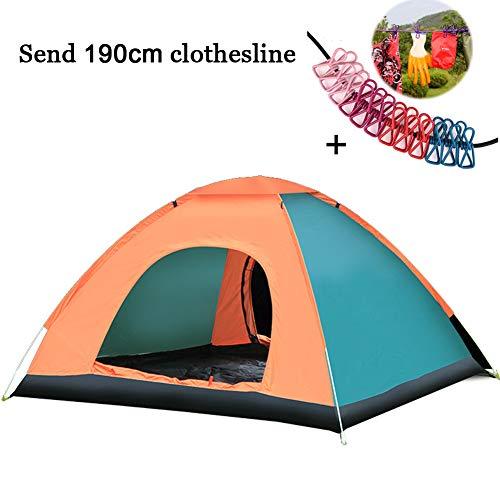 KIKTS Automatische Camping Tent, Draagbare Hydraulische UV Beach Tent, voor Familie Tuin Camping Vissen met Draagtas Stuur 190Cm Waslijn