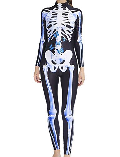 AIDEAONE Disfraz de Halloween Mono de Hueso de Mujer Huesos Esqueleto Scary Spooky Cosplay M