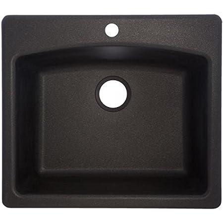Franke Esox25229 1 Ellipse 25 Dual Mount Granite Single Bowl Kitchen Sink Onyx 25 X 22 X 9