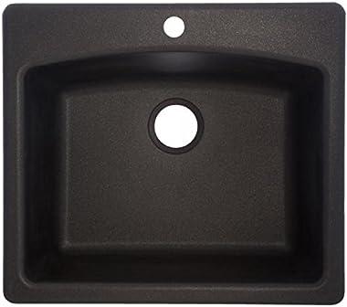 "Franke ESOX25229-1 Ellipse 25"" Dual Mount Granite Single Bowl Kitchen Sink, Onyx, 25"" x 22"" x 9"","