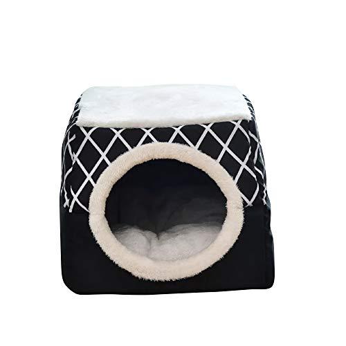 thematys Cueva del Gato I Cama para Gatos con Cojines Extra I Casa para Gatos Plegable I Cueva Convertible I Portátil y Resistente a los arañazos (Style 2, L (35 x 33 x 30 cm))
