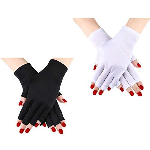 Lot de 2 paires de gants de manucure en gel anti-UV, sans doigts pour protéger les mains et protéger les ongles