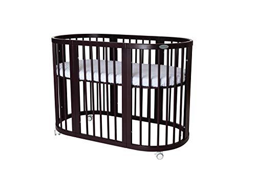 INGVART Smart Bed 9 en 1 - Cuna para niños (ovalada, 65 x 76 cm, 125,173 cm, con colchón relleno de coco y látex MIDI 60 x 120 cm), color marrón