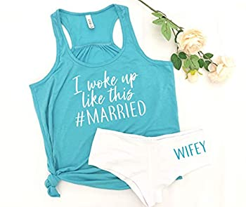 bachelorette gift honeymoon outfit bride gift idea just married t-shirts wifey panties lingerie for husband