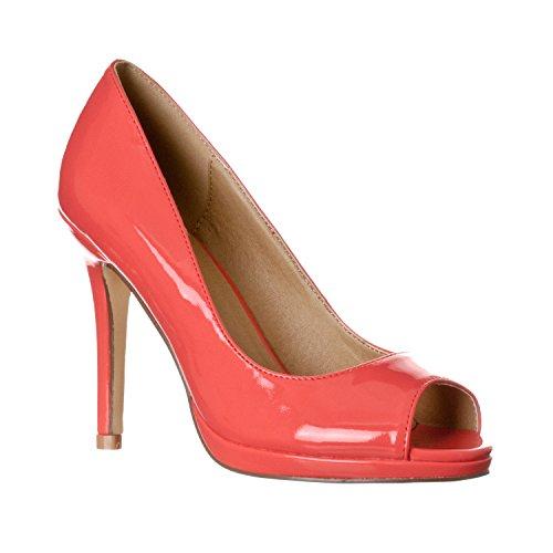 Riverberry Women's Julia Slight Platform Open Toe High Heel Pumps, Coral Patent, 8.5