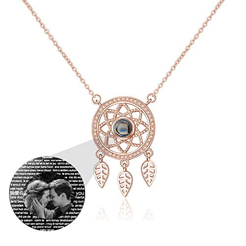 Custom Photo Necklace Projection Necklace Dream Catcher Necklace 925 Sterling Silver Necklace Thanksgiving for Women(Rose gold Black and white 14)