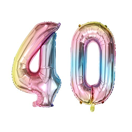 Number 40 Balloons 40th Birthday Party Decorations Rainbow Color Foil Mylar Balloon for Anniversary Party Decor (40inch Number 40)