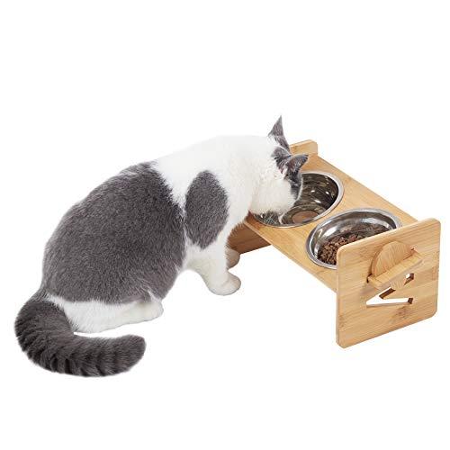 bingopaw ペットボウル 犬猫用 食べやすい餌皿 食器 ステンレス フードボウル 傾斜ごはん台 うさぎ ゆっくり 早食い防止 高さ調整可
