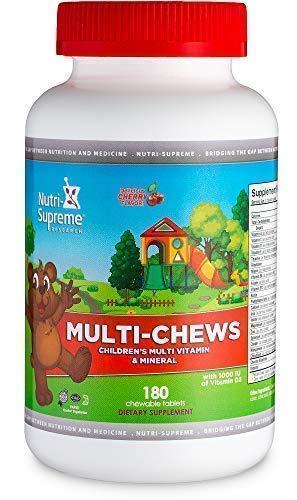 Delicious Kids Multivitamin, 180 Vegetarian Gummies – Complete Children's Supplement with Essential Vitamins and Minerals - Vitamin A, B, C, D3, Calcium, Iron, Folic Acid, Zinc – Cherry Flavor
