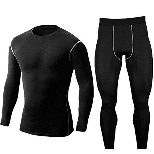 WINDCHASER Herren Warme Unterwäsche Set, Winter Suit Ski Thermo Set Thermowäsche Langarm Unterhemd + Thermo Lange Unterhose (Black, XL)