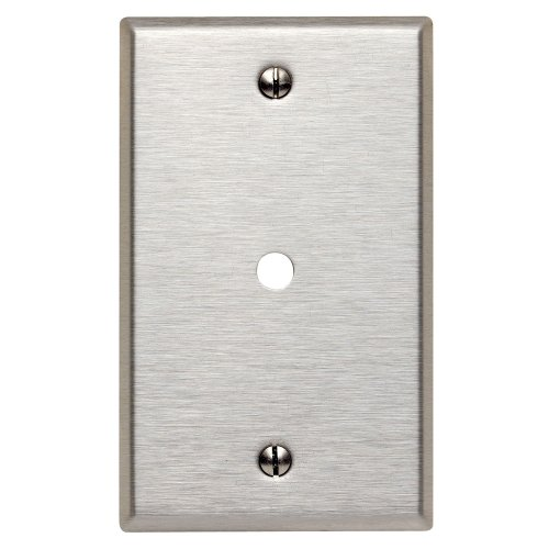 Leviton 84013 1-Gang .312-Inch Hole Device Telephone/Cable Wallplate, Standard Size, Box Mount, Stainless Steel