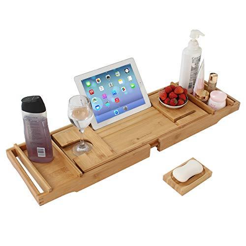 GRANDMA SHARK ausziehbarer Bambus-Badewanne Tablett, erweiterbare Badewanne Tablett kann Handtücher, Weingläser, Bücher, Mobiltelefone, Tablets, etc (Natürliche)