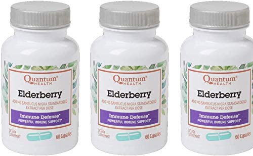 Quantum Health, Elderberry Extract Capsule, 60-Count Packages (Pack of 3)