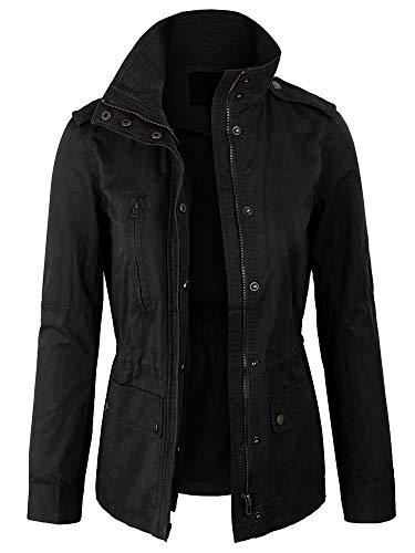 Kogmo Womens Zip Up Military Anorak Safari Jacket Coat -L-BLACK