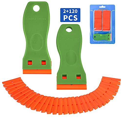 Plastic Razor Blade Scraper, 2 Pack Razor Scraper with 120 Pcs Razor Blades for Removing Glue, Sticker, Decals, Tint from Car Window and Glass(Green)