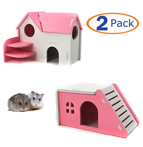 Wooden Hamster House,Hideout Hut Exercise Natural Funny Nest Toy(Pack of 2) (Pink)