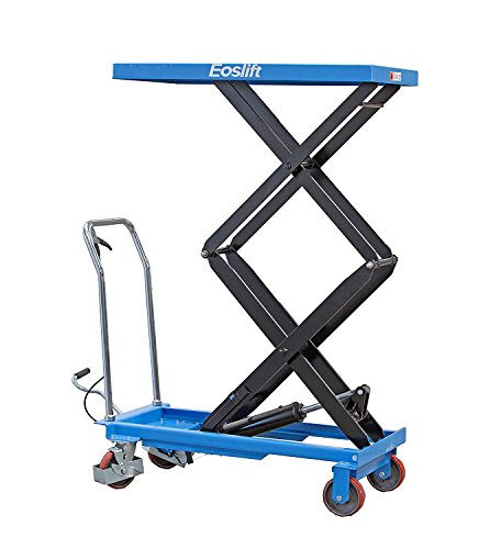 DAZONE Manual Hydraulic Scissors Lift Table Carts - 770 lb Max Load Capacity, High-Lift Double-Scissor, Hydraulic Foot Pump, Blue TAD35 for Lifting and Transporting Loads in Warehouse