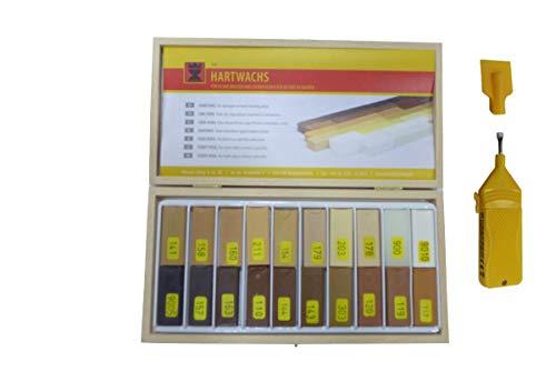 20 Stck. Hartwachs mit Schmelzer, für die Reparatur von Parkett,Laminat,Möbel,Treppen,Arbeitsplatten für lackierte und geölte Oberflächen