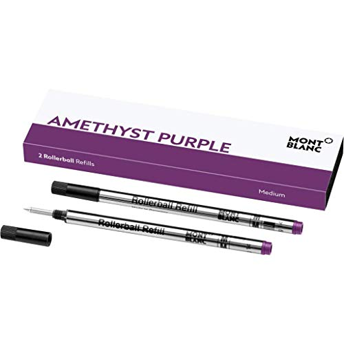 Montblanc 106931 - Refill (M) per penne roller e fineliner, Amethyst Purple (viola ametista) – Ricariche di alta qualitá, punta media, 1 x 2 Refill