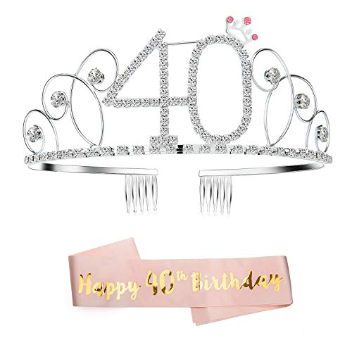 ZOEON Geburtstags-Krone 40. Geburtstags Kristall Tiara Krone mit Geburtstags-Schärpe (40)