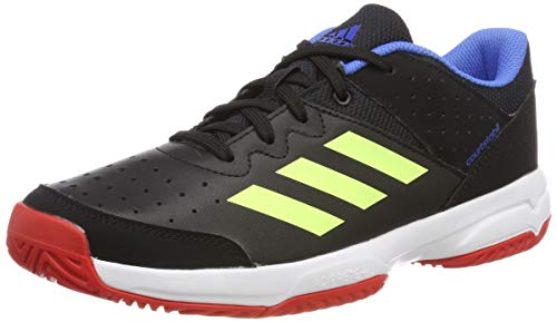 adidas Court Stabil Jr, Unisex-Kinder Handballschuhe, Schwarz (Core Black/Hi/Res Yellow/Active Red Core Black/Hi/Res Yellow/Active Red), 35 EU (2.5 UK)