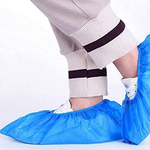 Bigbutterfly 100 Stücke Überschuhe, blaue Kunststoff-Rutschschutz-Überschuhe, Einweg Rutschfest Schuhüberzieher, Überschuhe Wasserdicht Einweg Überziehschuhe Plastik, Überzieher für Schuhe- Blau