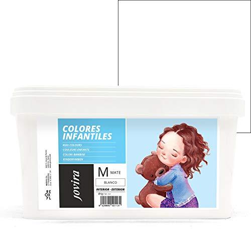 COLORES INFANTILES Pintura plástica ecológica sin olor e hipoalergénica de acabado mate y luminoso. (5 KG, BLANCO)