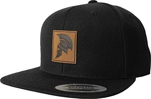 Cap: Sparta Helm - Snapback Flexfit Basecap mit Leder Patch - Urban Streetwear Männer Mann Frau-en - Baseball-cap Hip-Hop Rap Mütze Kappe Spartan Training Sport Gym Fitness Body Muscle (Schwarz)