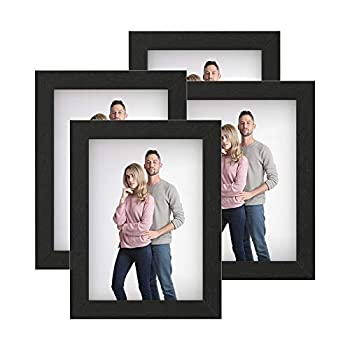 SONGMICS Picture Frames Set of 4 Photo Frames for 5 x 7-Inch Photos MDF Glass Front Black URPF042B01