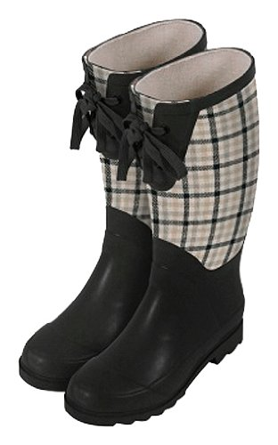 Big Sale Laura Ashley 3A074497 Contemporary Wellington Waterproof Boot, Mitford Check Charcoal Biscuit, Size 8.5
