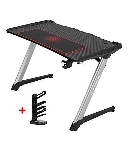 Ultradesk Racer - Gaming Tisch mit Rahmen aus Aluminium, Computertisch, L: 120cm T: 64cm H: 77cm, Schreibtisch mit LED RGB Prismatic und Carbon Design
