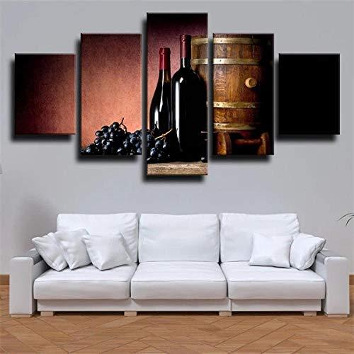 IKDBMUE Cuadro En Lienzo Imagen Impresión Pintura Decoración Cuadro Moderno En Lienzo 5 Piezas XXL 150X80 Cm Enmarcado Murales Pared Hogar Decor Barril de Madera de Bodega