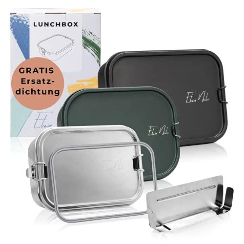 Elwin Neiles® ☀️ 100% auslaufsichere Edelstahl Brotdose [800 ml] INKL. GRATIS Ersatzdichtung & Trennwand - leicht öffnende Lunchbox für Kinder