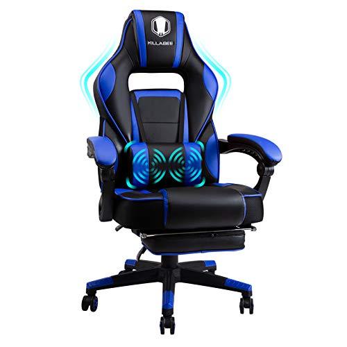 FANTASYLAB KILLABEE Massage Gaming Stuhl PU Leder mit Hoher Rückenlehne PC Racing Computer Schreibtisch Büro Drehbarer Liegestuhl mit einziehbarer Fußstütze und Verstellbarer Lenden Kissen (Blue)