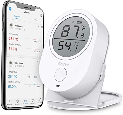 Govee Temperature Humidity Monitor, Bluetooth Room Humidity Sensor with APP Alert, 328 Feet Bluetooth Covering Range, 2 Year Data Record and Export