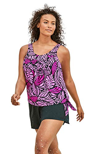 Swimsuits For All Women's Plus Size 2-Piece Blouson Swim Set - 24, Bright Fuchsia Leaf