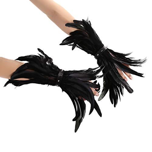 MSemis 1 Paar Gothic Feder Manschetten Rabe Hexe Priesterin Kostüm gefärbte Hahnfeder Armbänder mit Druckknopfverschluss Schwarz One Size