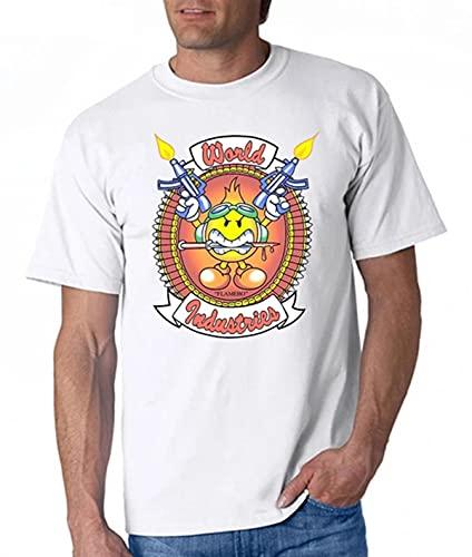 VTG World Industries Flamebo T Shirt Blind Skateboards Hook Ups Reprint Cotton Tshirt Men Summer Fashion t-Shirt Euro Size-White,XL