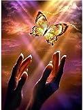 Punto de cruz Kit Bordados para niños y adultos Mano de mariposa voladora dorada,16 x 20 pulgadas DIY costura punto de cruz set decoración de pared principiante(11CT)