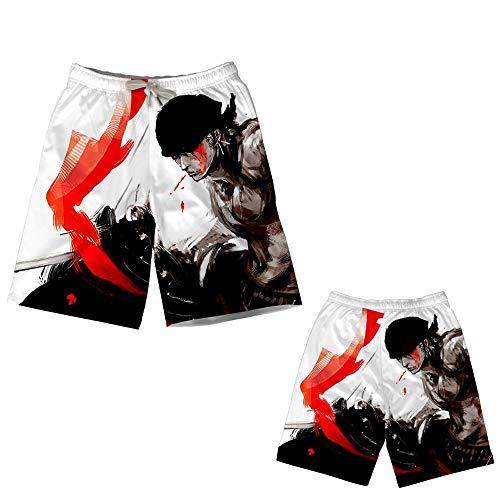 Preisvergleich Produktbild JIATONGL One Piece Serie / Roronoa Zoro Red Splash Ink-Muster / Anime-Strand-Hosen / Casual Ferien Pants / Haus bequem und weich / Strand Sonnenbaden / Geeignet for Erwachsene,  Kinder und Anime-Liebha